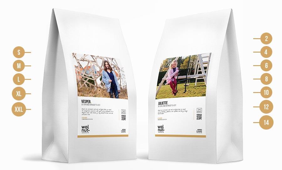 Wolnut breipakketten Vesper en Juliette beschikbaar in verschillende maten
