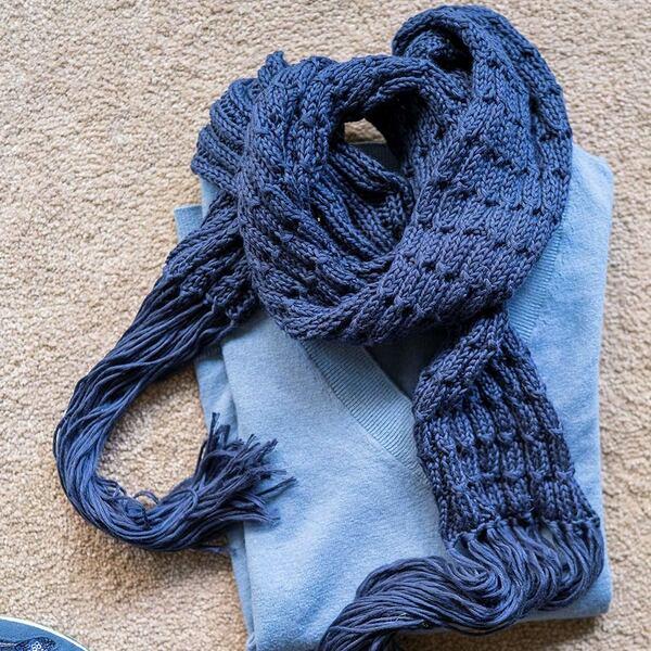 Spring Bells Sjaal blauw Breipakket Hoooked