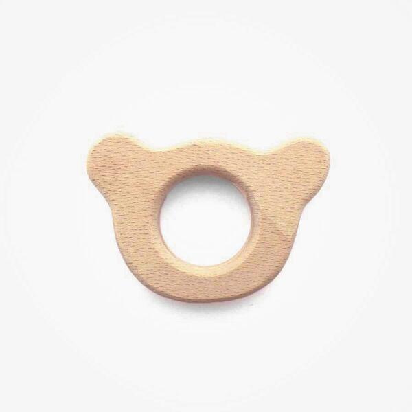 Houten bijtring beer deco 60 mm