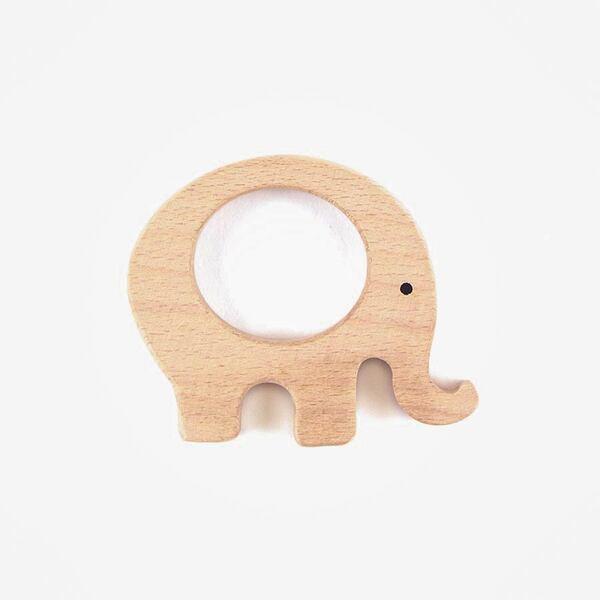 Houten bijtring olifant deco 75 mm