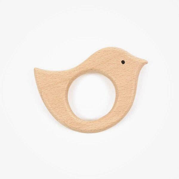 Houten bijtring vogel deco 70 mm