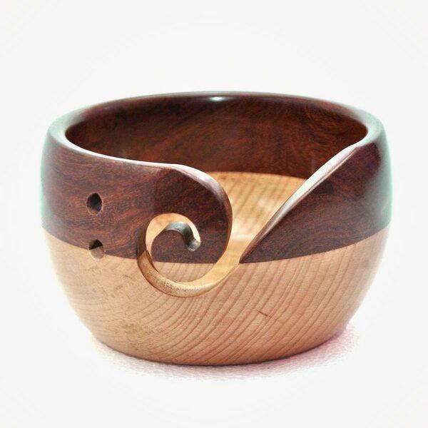 Houten Yarn Bowl Sheesham Duowood Durable