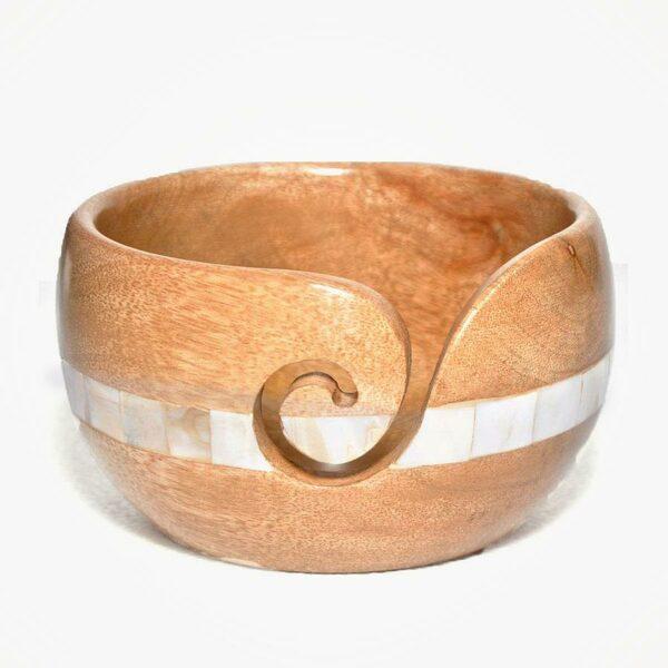 Houten Yarn Bowl Parelmoer Durable